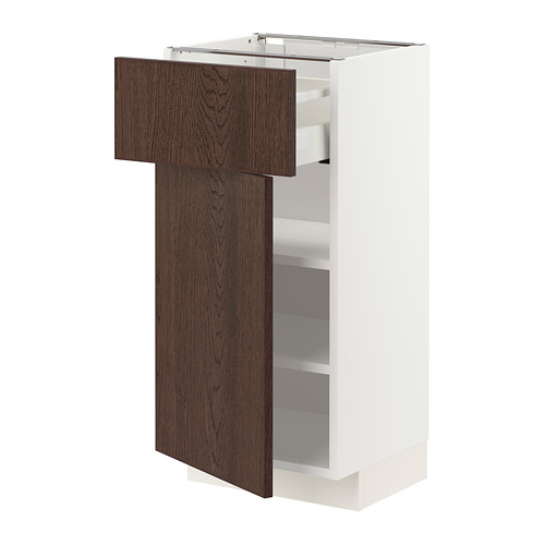 METOD/MAXIMERA - 地櫃連抽屜/門板, white/Sinarp brown | IKEA 香港及澳門 - PE802390_S4