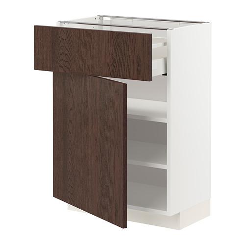 METOD/MAXIMERA - 地櫃連抽屜/門板, white/Sinarp brown | IKEA 香港及澳門 - PE802444_S4