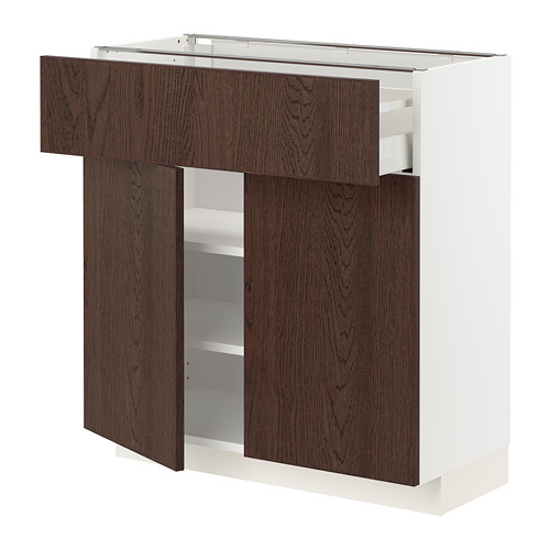 METOD/MAXIMERA - base cabinet with drawer/2 doors, white/Sinarp brown | IKEA Hong Kong and Macau - PE802437_S4