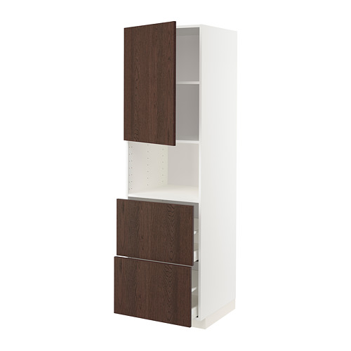 METOD/MAXIMERA - hi cab f micro w door/2 drawers, white/Sinarp brown | IKEA Hong Kong and Macau - PE802369_S4