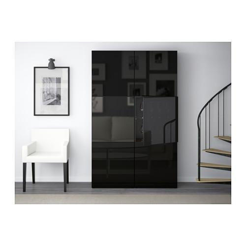BESTÅ - storage combination w glass doors, black-brown/Selsviken high-gloss/black smoked glass | IKEA Hong Kong and Macau - PE537036_S4