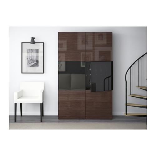 BESTÅ - storage combination w glass doors, black-brown/Selsviken high-gloss/brown smoked glass | IKEA Hong Kong and Macau - PE537038_S4