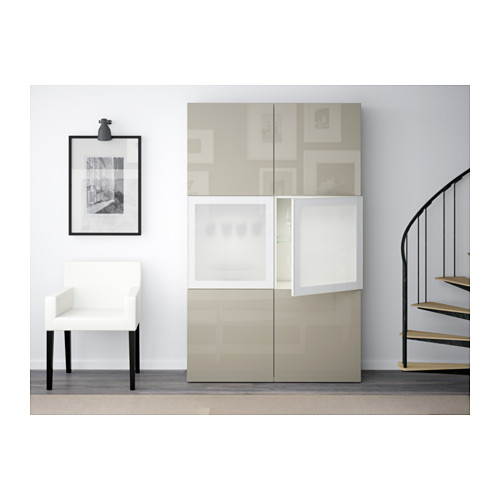 BESTÅ - storage combination w glass doors, white/Selsviken high-gloss/beige frosted glass | IKEA Hong Kong and Macau - PE537050_S4
