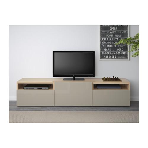 BESTÅ - 電視几, 染白橡木紋/Selsviken 光面/米黃色 | IKEA 香港及澳門 - PE537014_S4