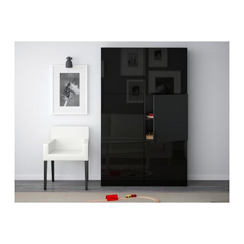 BESTÅ - storage combination with doors, black-brown/Selsviken high-gloss/black   IKEA Hong Kong and Macau - PE536962_S4