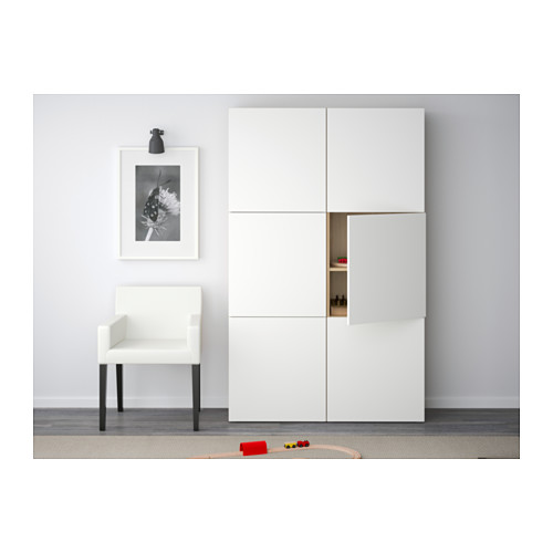 BESTÅ - storage combination with doors, white stained oak effect/Lappviken white | IKEA Hong Kong and Macau - PE536984_S4