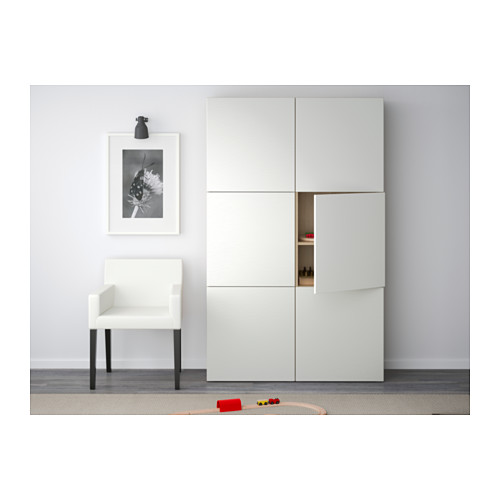BESTÅ - storage combination with doors, white stained oak effect/Laxviken white | IKEA Hong Kong and Macau - PE536986_S4