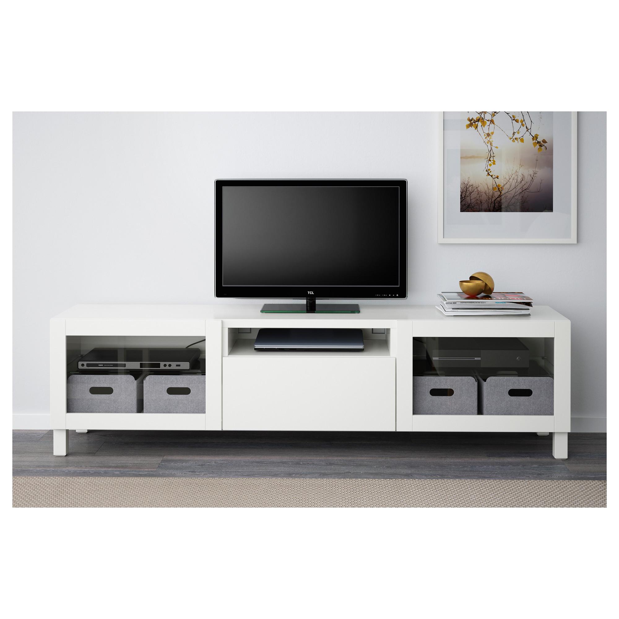 Meuble Ikea Besta Blanc bestÅ - tv bench, lappviken/sindvik white clear glass | ikea