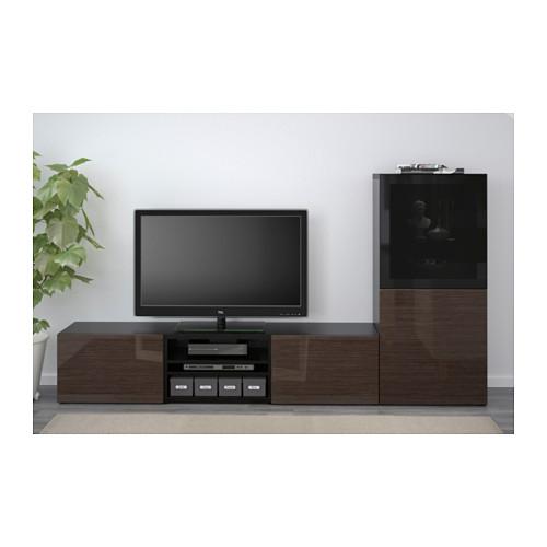 BESTÅ - 電視貯物組合/玻璃門, 棕黑色/Selsviken 光面/褐色/茶色玻璃 | IKEA 香港及澳門 - PE536770_S4