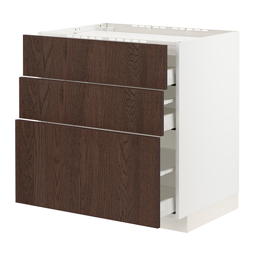 METOD/MAXIMERA - 爐具地櫃連3面板/3抽屜, white/Sinarp brown | IKEA 香港及澳門 - PE802953_S4
