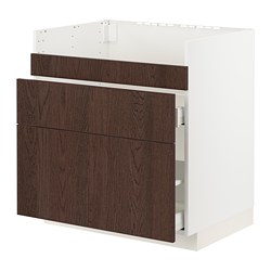 METOD/MAXIMERA - HAVSEN星盆用地櫃連3面板/2抽屜, white/Sinarp brown | IKEA 香港及澳門 - PE802954_S3