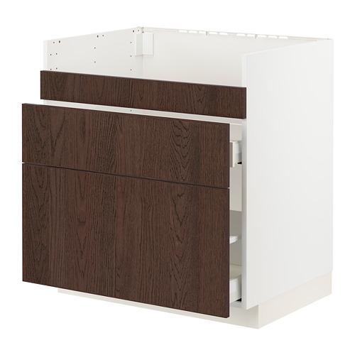 METOD/MAXIMERA - HAVSEN星盆用地櫃連3面板/2抽屜, white/Sinarp brown | IKEA 香港及澳門 - PE802954_S4