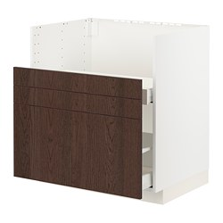 METOD/MAXIMERA - BREDSJÖN星盆用地櫃/2面板/2抽屜, white/Sinarp brown | IKEA 香港及澳門 - PE802960_S3