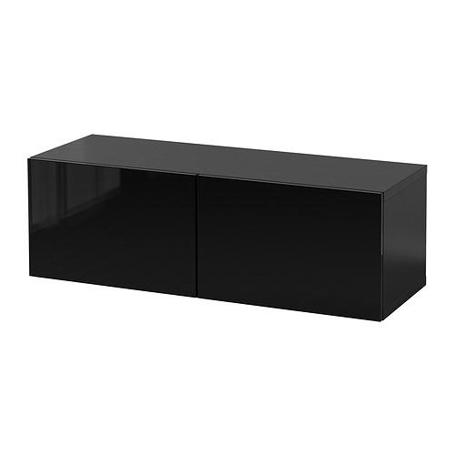 BESTÅ - 上牆式貯物組合, black-brown/Selsviken black   IKEA 香港及澳門 - PE847249_S4