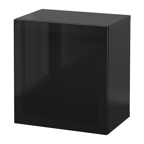 BESTÅ - 上牆式貯物組合, black-brown/Glassvik smoked glass | IKEA 香港及澳門 - PE847346_S4