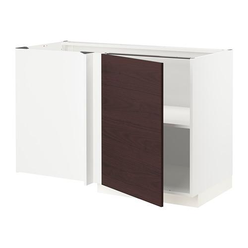 METOD - corner base cabinet with shelf, white Askersund/dark brown ash effect | IKEA Hong Kong and Macau - PE780462_S4