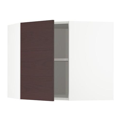 METOD - corner wall cabinet with shelves, white Askersund/dark brown ash effect | IKEA Hong Kong and Macau - PE780465_S4