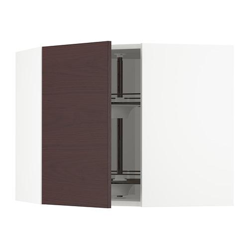 METOD - corner wall cabinet with carousel, white Askersund/dark brown ash effect | IKEA Hong Kong and Macau - PE780468_S4