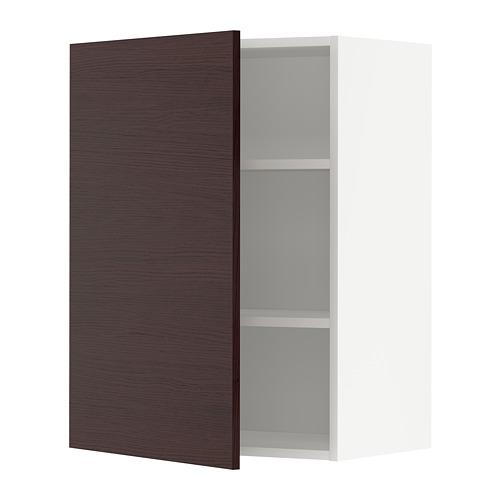 METOD - wall cabinet with shelves, white Askersund/dark brown ash effect | IKEA Hong Kong and Macau - PE780478_S4