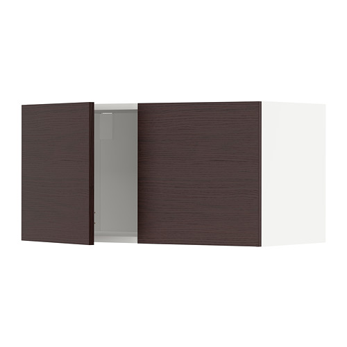 METOD - wall cabinet with 2 doors, white Askersund/dark brown ash effect | IKEA Hong Kong and Macau - PE780480_S4