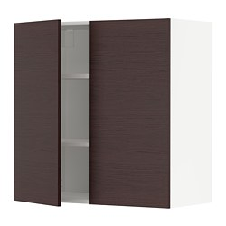 METOD - wall cabinet with shelves/2 doors, white Askersund/dark brown ash effect | IKEA Hong Kong and Macau - PE780498_S3