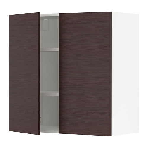 METOD - wall cabinet with shelves/2 doors, white Askersund/dark brown ash effect | IKEA Hong Kong and Macau - PE780498_S4
