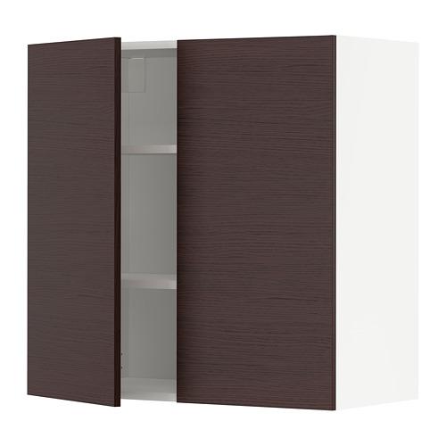 METOD - 吊櫃連層板/雙門, white Askersund/dark brown ash effect | IKEA 香港及澳門 - PE780498_S4