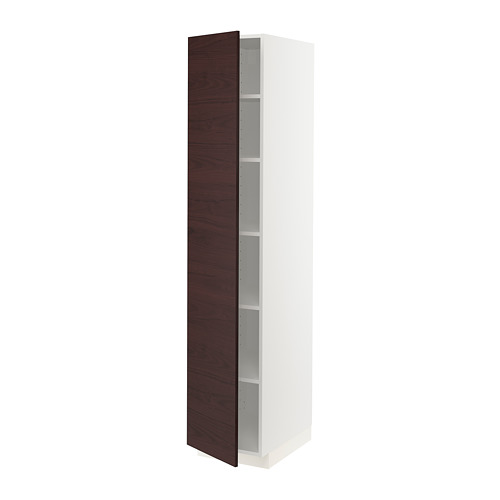 METOD - high cabinet with shelves, white Askersund/dark brown ash effect | IKEA Hong Kong and Macau - PE780510_S4