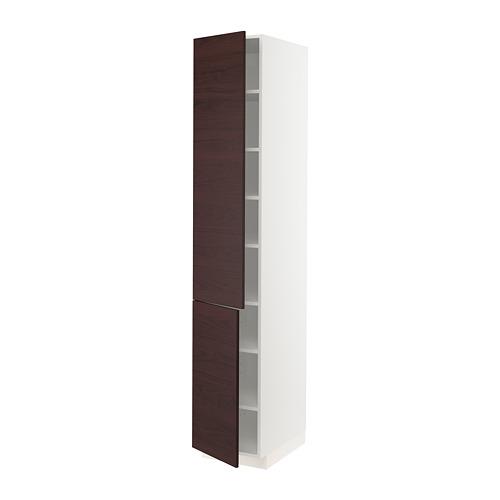 METOD - 高櫃連層板/門一對, white Askersund/dark brown ash effect   IKEA 香港及澳門 - PE780512_S4