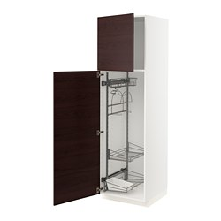 METOD - high cabinet with cleaning interior, white Askersund/dark brown ash effect | IKEA Hong Kong and Macau - PE780573_S3