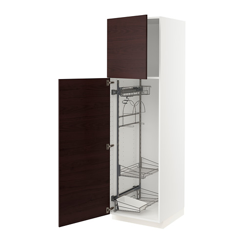 METOD - high cabinet with cleaning interior, white Askersund/dark brown ash effect | IKEA Hong Kong and Macau - PE780573_S4