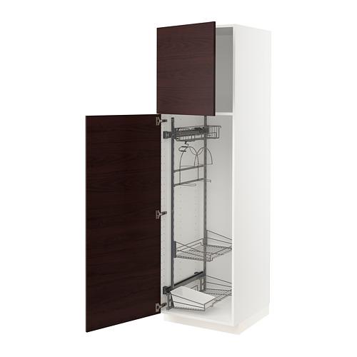 METOD - 高櫃連清潔用品櫃內配件, white Askersund/dark brown ash effect | IKEA 香港及澳門 - PE780573_S4