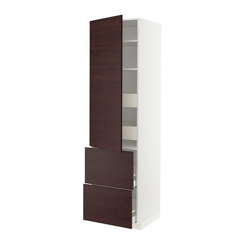 METOD/MAXIMERA - hi cab w shlvs/4 drawers/dr/2 frnts, white Askersund/dark brown ash effect | IKEA Hong Kong and Macau - PE780578_S4