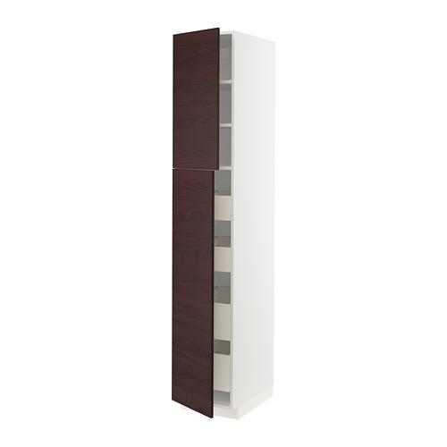 METOD/MAXIMERA - hi cab w 2 doors/4 drawers, white Askersund/dark brown ash effect   IKEA Hong Kong and Macau - PE780543_S4