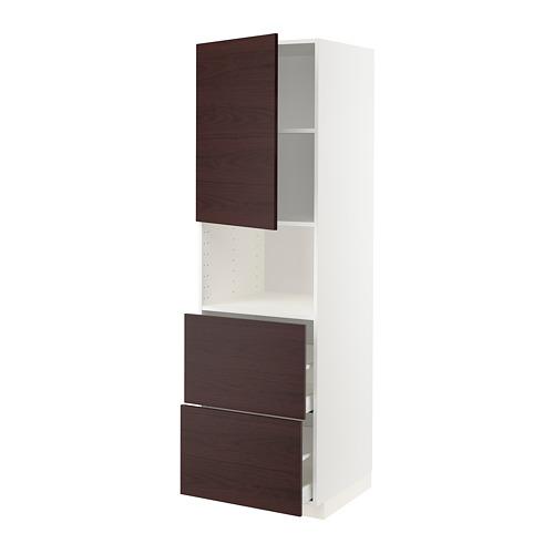 METOD/MAXIMERA - hi cab f micro w door/2 drawers, white Askersund/dark brown ash effect | IKEA Hong Kong and Macau - PE780580_S4