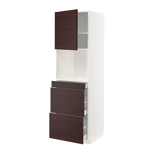 METOD/MAXIMERA - hi cab f micro combi w door/3 drwrs, white Askersund/dark brown ash effect | IKEA Hong Kong and Macau - PE780549_S4