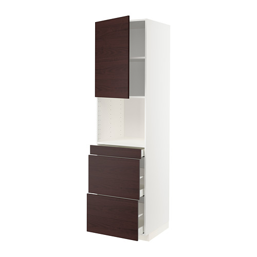 METOD/MAXIMERA - hi cab f micro combi w door/3 drwrs, white Askersund/dark brown ash effect | IKEA Hong Kong and Macau - PE780558_S4
