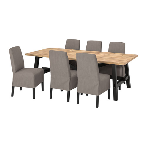 BERGMUND/SKOGSTA - table and 6 chairs, acacia/Nolhaga grey/beige | IKEA Hong Kong and Macau - PE803223_S4