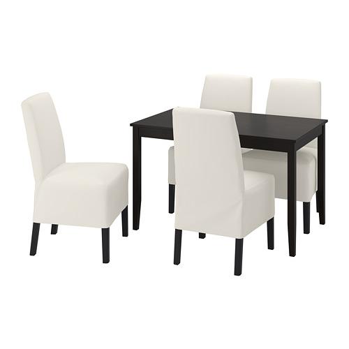 BERGMUND/LERHAMN - 一檯四椅, black-brown/Inseros white/black | IKEA 香港及澳門 - PE803231_S4