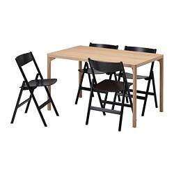 RÅVAROR/RÅVAROR - table and 4 chairs, oak veneer/black | IKEA Hong Kong and Macau - PE803261_S3