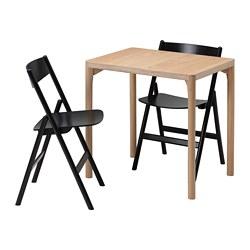 RÅVAROR/RÅVAROR - table and 2 folding chairs, oak veneer/black | IKEA Hong Kong and Macau - PE803262_S3
