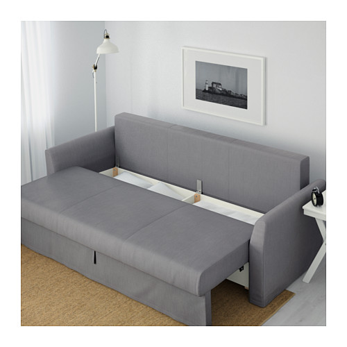 HOLMSUND - three-seat sofa-bed with storage, Nordvalla medium grey | IKEA Hong Kong and Macau - PE602836_S4