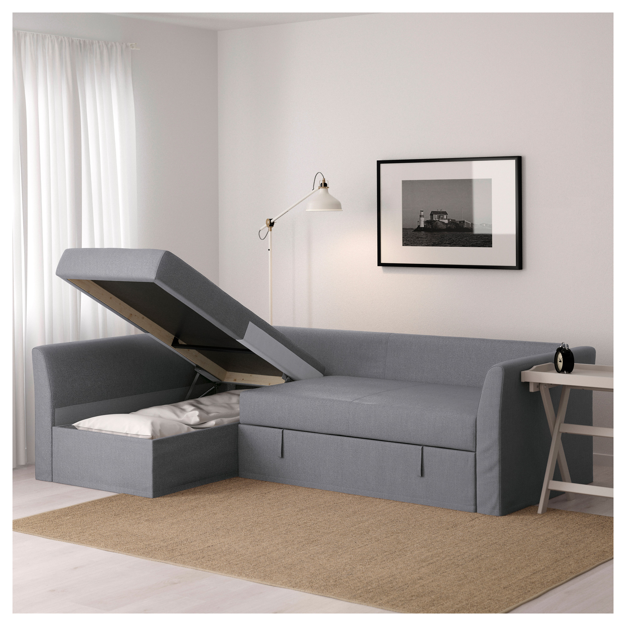 - HOLMSUND - Corner Sofa-bed With Storage, Nordvalla Medium Grey