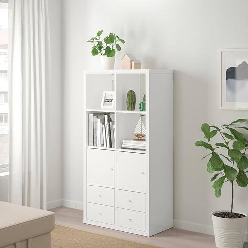 KALLAX - shelving unit with 4 inserts, high-gloss/white | IKEA Hong Kong and Macau - PE747990_S4