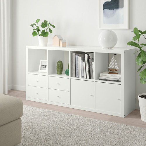 KALLAX - shelving unit with 4 inserts, high-gloss/white | IKEA Hong Kong and Macau - PE747988_S4