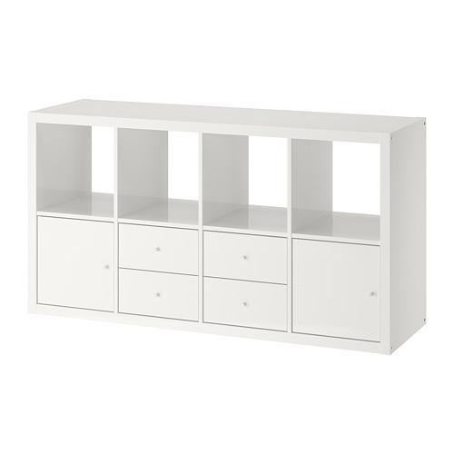KALLAX - shelving unit with 4 inserts, high-gloss/white | IKEA Hong Kong and Macau - PE747989_S4