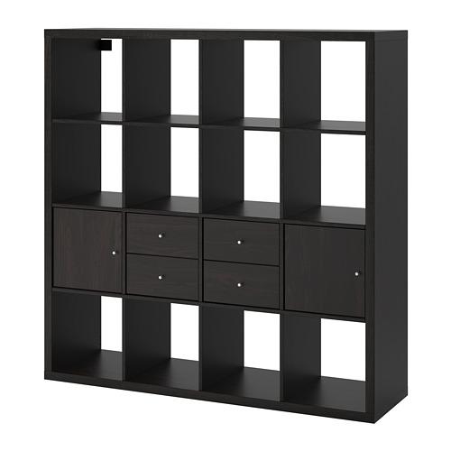 KALLAX - 層架組合連4個貯物格, 棕黑色   IKEA 香港及澳門 - PE748003_S4