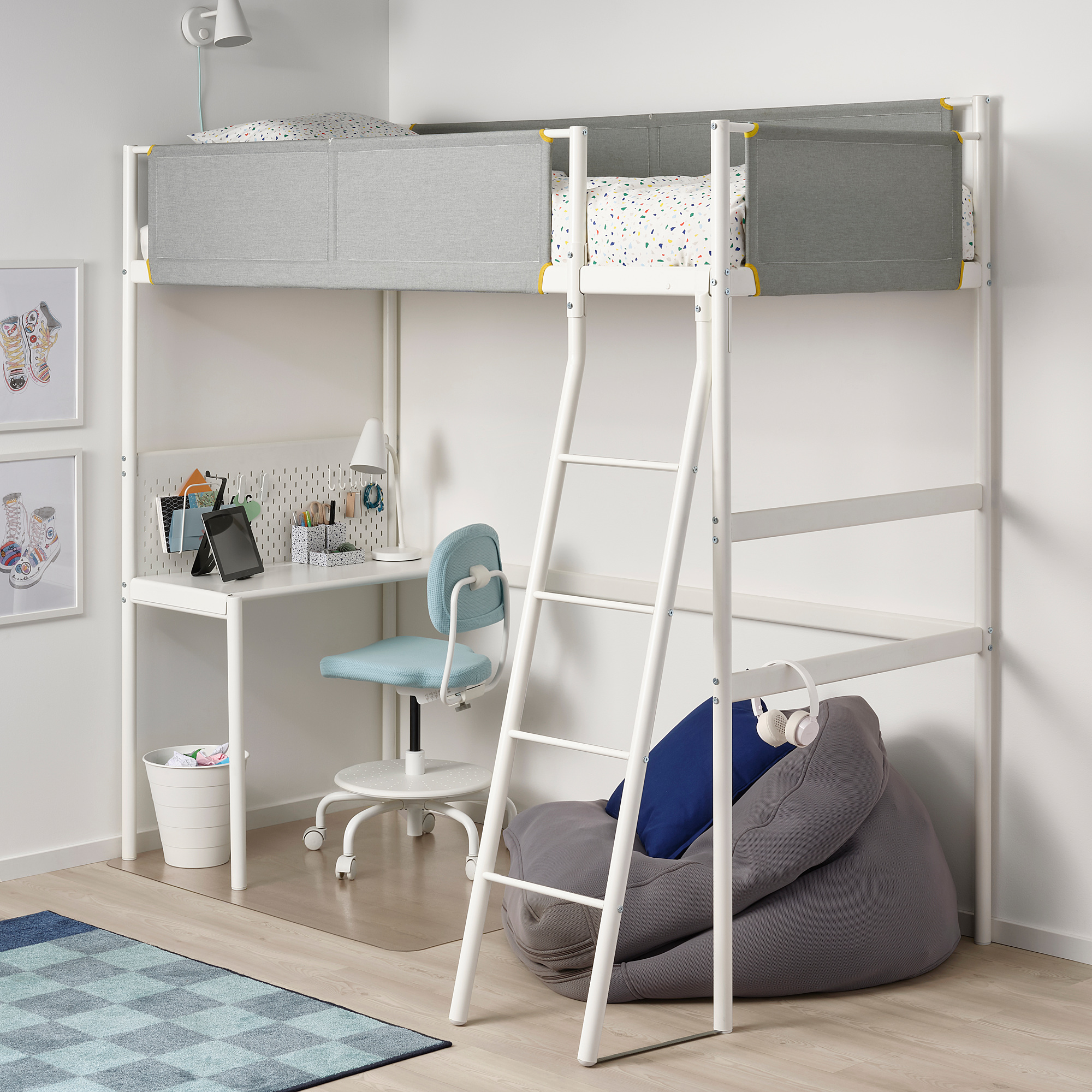 vitval loft bed frame with desk top white light grey ikea hong kong