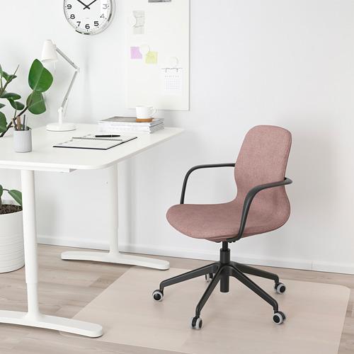 LÅNGFJÄLL - office chair with armrests, Gunnared light brown-pink/black   IKEA Hong Kong and Macau - PE685896_S4