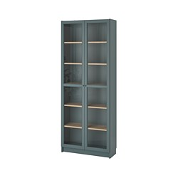 BILLY - bookcase with glass-doors, grey-turquoise/white stained oak veneer | IKEA Hong Kong and Macau - PE803735_S3